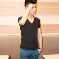 Hot sale Brief casual fashion deep v neck all-match male short-sleeve T-shirt cf25-p20