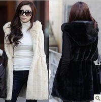 2013 Women Vest Faux Fur Coat Medium-Long Vertical Stripe Hooded Vest Female