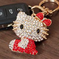 Free shipping Rhinestone guaiguai cat keychain Large full rhinestone cat keychain bags buckle  high quality