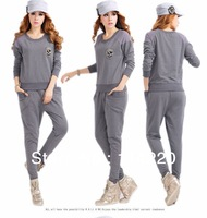 New Autumn Woman Sport Suit Casual 100% Cotton Sweatshirt Set With Sweatshit And Pants 2PCS Fashion Skull Sportwear