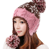 Free shipping Knitted hat women's autumn and winter thermal yellow pink sphere knitted ear protector cap 0337