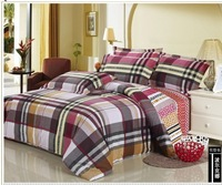 FEDEX Free shipping Scotland Check Holiday Printed Twill 100% Cotton 4PCS Bedding set