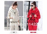 Woman Autumn & winter fashion sweatshirt hoodie set Cotton Blend thick deerlet Fleece 3pcs sports suit (hoody,panty,vest)