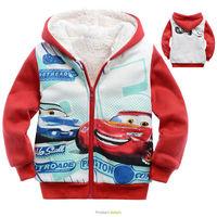 2013 winter children's clothing 6pcs/1lot kids boys cartoon cars berber fleece liner hooded coat, zipper jacket Hot sale
