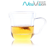 Heat resistant glass cup transparent lid tea cup flower belt tea cup office glass coffee cup