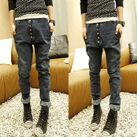 unisex paragraph of water wash jeans male slim denim harem pants trousers  fashion cheap origin casual denim pant for men