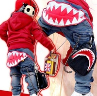 Free Drop Shipping 2014 New Spring Autumn Fashion Large Shark Teeth Children Boys  Kids  Jeans Pants Trousers  B049