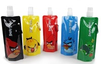 Foldable water bottle for outdoor / water bag with Carabiner holder / Cartoon Water cup (480ml) free shipping