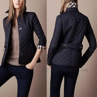2013 new design fashion women's plaid quilting wadded jacket outerwear women trench coat Free Shipping