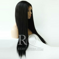 """Remy Queen Hair Front Lace Wigs For African Americans Bleached Knots1# Jet Black Straight Brazilian 8""""-24"""" 120% Density Free"""