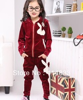 FREE SHIPPING Girl Clothing Set Girl's Velvet Rabbit Bow Hoodied Sport Wear Suits Set for Spring / Fall / Winter, R196,5SET/LOT