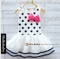 Free shipping 2014 New Fashion Baby Girls'summer dress Candy colored bow girls vest dress A031