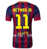 free shipping 2013-2014 Barca Neymar JR #11 mens football soccer jersey shirts uniforms embroidery customize logo home blue