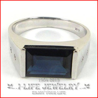 Fashion Jewelry 925 Sterling Silver Silver Natural Sapphire Boss for Marriage With Gems Wholesale Rings For Sale