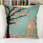 2pcs/lot Tree Pattern Blue Jute Cotton Sofa Anime Pillow Case / Cover 42*42cm(China (Mainland))