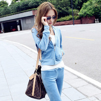 2013 women's spring and autumn velvet sports casual sweatshirt set piece set sportswear