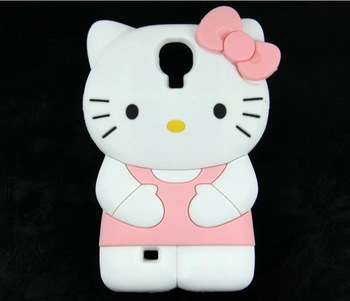Free Shipping 3D Cute Kawaii Cartoon Bow Hello Kitty Rubber Mobile Phone Cases Cover For Samsung Galaxy S4 SIV I9500 Protector