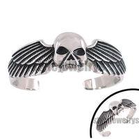 Free shipping! Angel Wings Skull Bangle Stainless Steel jewelry Eagle Motor Biker Bracelet SJB0131