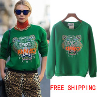 New 2013 Autumn Winter Fashion Embroidery Tiger Head Long Sleeve Fleece Celebrity Pullovers Hoodies Sweatshirt Free Ship HX132