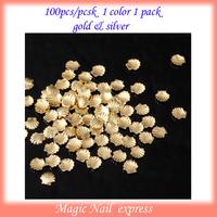 200pcs 3D nail art crushed shells studs Popular Mini Alloy Metal Shell Beads For Nail Art Decoration Craft