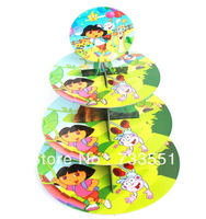 SALE! Free shipping 1 sets Dora birthday baby shower party Decorations,cardboard cake stand hold 24 cupcakes