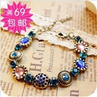 Fashion accessories jewelry fashion vintage retro gem multicolour finishing diamante bracelet female