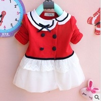Free shipping Baby Girls Dress Coat  New 2013 Autumn  Korean Girls  Lapel  Female Girls'Long-Sleeved T-shirt A035