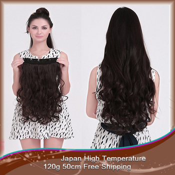 "1pcs Free shipping 120g/pc 50cm long about 20"" women hair extension another 16 colors for pick clip in hair extensions"