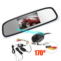 "Wireless Mini Car Reversing Camera 170 degree Waterproof + 4.3"" Car LCD Mirror Monitor Kit Free Shipping"