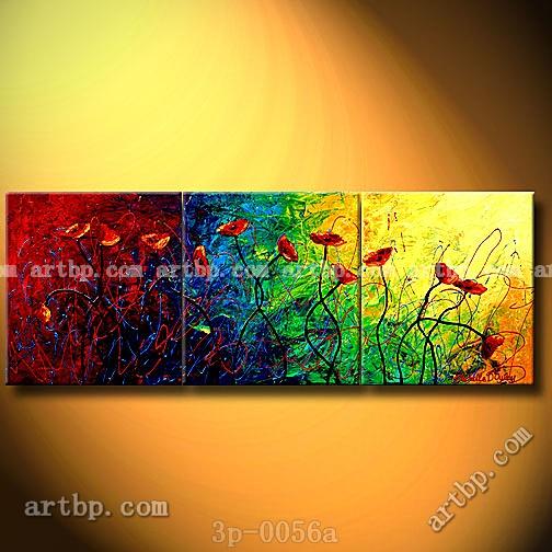 Dança abstrata da Red Poppies Art pintura a óleo sobre tela pintura da parede 3 painel 3 pçs/set lona(China (Mainland))