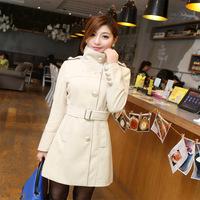 Free Shipping Women's Outwear Medium-long Wool Coat female Thickening Autumn Winter Slim Overcoat Plus Size M L XL XXL
