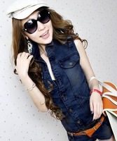 Women 2013 New Summer Turn-down Collar Button Up Sleeveless Separable Jeans Jumpsuits Rompers Free Shipping A333-3-8016