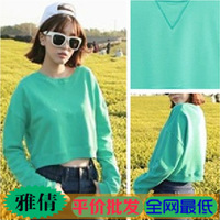new 2013 Sty nda cute short design long-sleeve pullover sweatshirt tops  autumn -summer casual dress high street crop top
