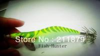 Fish 3.5  wood shrimp squid lure squid hook fishing lure fishing shrimp lure (yellow stripe)
