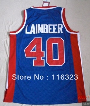 Wholesale- Free Shipping Laimbeer  #40 Blue Throwback Basketball Jersey,Embroidery logos,Size 44-56,Mix Order