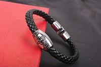 2013 Fashion Jewelry Three Flowers Alloy Genuine Cowhide Leather Bracelet High Quality Men's Jewelry Free Shipping  HeHuanSLQ174