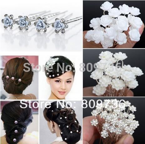Wholesale 20/40PCS Wedding Bridal Pearl Hair Pins Flower Crystal Hair Clips Bridesmaid Jewelry 5 Styles U Pick Free Shipping(China (Mainland))