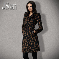 Free shipping 2013 autumn and winter women fashion animal leopard print woolen overcoat slim cashmere woolen outerwear female
