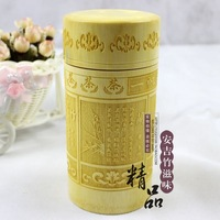 Unique Pattern Carved Bamboo Pencil Holder Eco-friendly Bamboo Caddy Tea Canister