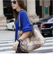 new 2013 women messenger bags solid fashion rabbit fur shoulder bags rivet handbags designers brand totes free shipping