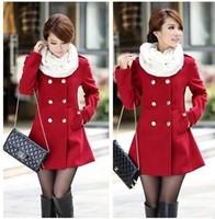 2013 Overcoat Elegant Gentlewomen Double Breasted Slim Long Design Collarless Wool Coat for women Outerwear Trench Winter