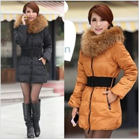 Free shipping Retail women new luxury heavy hair collar slim thicken medium style down jacket women winter coat ZHJ240