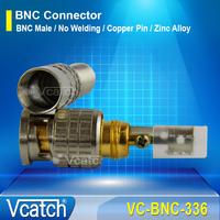 Free Shipping 50pcs/lot Copper Pin CCTV BNC Male Coupler Plug No Welding BNC Connector High quality