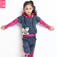 Children's clothing 2013 autumn female child spring and autumn sports set child denim set big boy women's