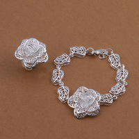 S442/Wholesale Fahion Beautiful Flower Charm Bracelet+Ring 925 Sterling Silver Jewelry Set,High Quality For Women,FREE SHIPING