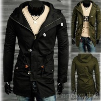 MEN'S CASUAL FASHION SLIM HOODED LONG COAT WITH LACING MF-46217