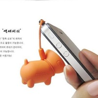 Wholesale! Lovely Pet pig 3.5mm dust plug earphone jack plug for Apple iphone4 4s 5, cute stand stents for samsung S3, S4, Phone