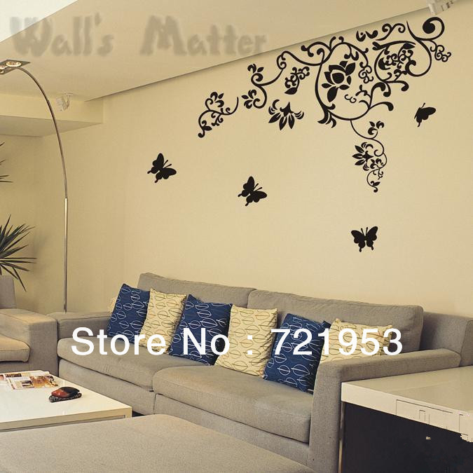 Free shipping 168 105cm oversize vinyl wall art bedroom for Bedroom wall art decor