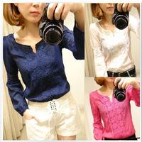 2013 Stylish Stitching Lace Long-Sleeved Shirt Bottoming Shirt