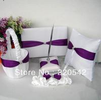 White and purple Satin Wedding Guest Book Ring Pillow Flower Basket Garter Pen set SC25